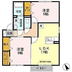 愛知県知立市山屋敷町富士塚の賃貸アパートの間取り
