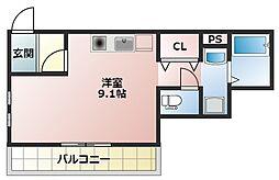Villa Egret(ヴィライグレット) 2階1Kの間取り