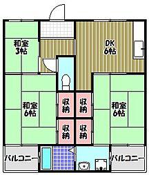 ビレッジハウス加賀田1号棟[2階]の間取り