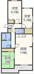 北海道札幌市東区北十九条東21丁目の賃貸マンションの間取り