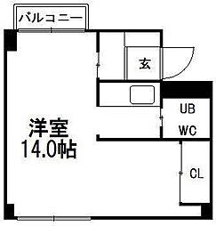 アサヒコートハウス[B201号室]の間取り
