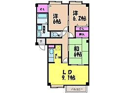 愛媛県松山市余戸南5丁目の賃貸アパートの間取り