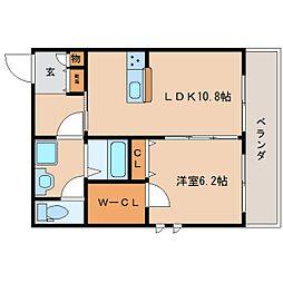 近鉄奈良線 生駒駅 徒歩8分の賃貸マンション 2階1LDKの間取り
