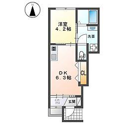 (仮称)桂稲荷山町新築アパート 1階1DKの間取り