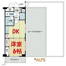 桜木町堂ノ下マンション 6階1DKの間取り
