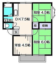 サンビレッジ三沢2号棟[2階]の間取り