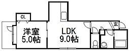 ニューヒルズ清田[2階]の間取り