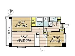 湘南新宿ライン高海 大宮駅 徒歩9分の賃貸マンション 3階2LDKの間取り