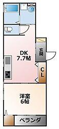 兵庫県西宮市甲子園浦風町の賃貸アパートの間取り