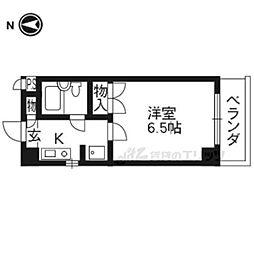 阪急京都本線 長岡天神駅 徒歩25分の賃貸マンション 3階1Kの間取り