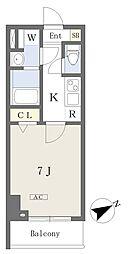 都営新宿線 本八幡駅 徒歩1分の賃貸マンション 1階1Kの間取り