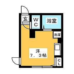 スプラウト桜台 2階ワンルームの間取り