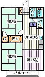 埼玉県さいたま市南区内谷6丁目の賃貸アパートの間取り