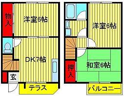 [テラスハウス] 千葉県柏市北柏2丁目 の賃貸【/】の間取り