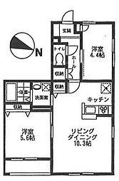 オーチャード・アパートメントD[2階]の間取り