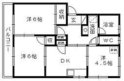 西ヶ崎グリーンハイツII[101号室]の間取り