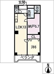 さくらマンション中川[2階]の間取り