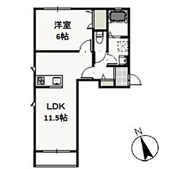 JR宇野線 大元駅 徒歩9分の賃貸アパート 1階1LDKの間取り