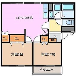 アドバンス A棟[1階]の間取り