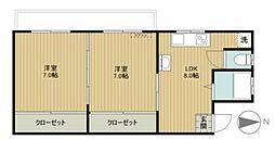 都営三田線 春日駅 徒歩8分の賃貸マンション 2階2DKの間取り