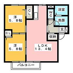 ピナスガーデンC・D[1階]の間取り