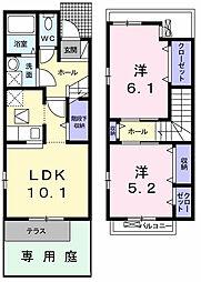 東京都武蔵村山市岸1丁目の賃貸アパートの間取り