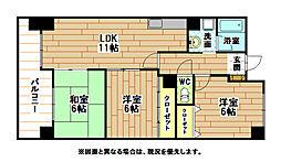 福岡県北九州市八幡西区下上津役3丁目の賃貸マンションの間取り