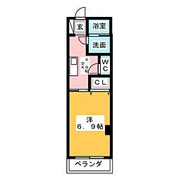 La Veriteノムラ大喜新町 4階1DKの間取り