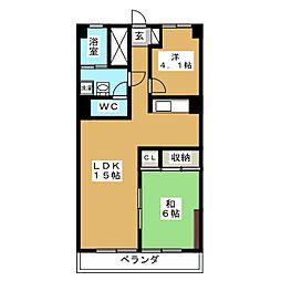 シャンボール石名坂[4階]の間取り