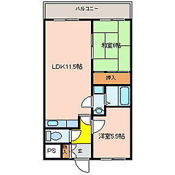 大阪府八尾市東山本新町1丁目の賃貸マンションの間取り