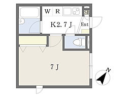 JR横浜線 大口駅 徒歩9分の賃貸アパート 1階1Kの間取り