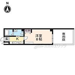 京福電気鉄道北野線 北野白梅町駅 徒歩15分の賃貸マンション 1階1Kの間取り