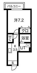 JR山手線 高田馬場駅 徒歩5分の賃貸アパート 2階1Kの間取り