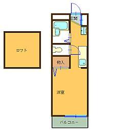 パピエ大和田[203号室]の間取り
