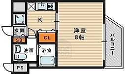Osaka Metro今里筋線 新森古市駅 徒歩9分の賃貸マンション 7階1Kの間取り