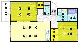 福岡県古賀市天神7丁目の賃貸アパートの間取り