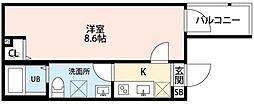 埼玉県越谷市宮本町1の賃貸アパートの間取り