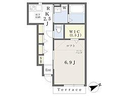 京王線 調布駅 徒歩7分の賃貸アパート 1階1Kの間取り