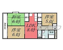 千葉県四街道市めいわ1丁目の賃貸マンションの間取り