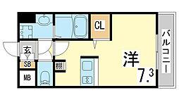 JR東海道・山陽本線 新長田駅 徒歩3分の賃貸マンション 11階ワンルームの間取り