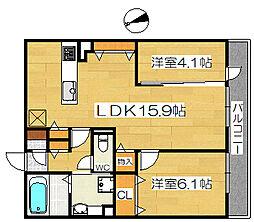 仮称D-room浜寺石津II[3階]の間取り