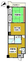 神奈川県横浜市鶴見区東寺尾中台の賃貸マンションの間取り