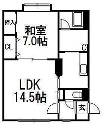 北海道札幌市中央区南五条西15丁目の賃貸マンションの間取り