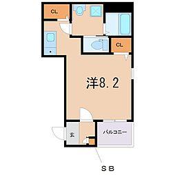 阪急宝塚本線 三国駅 徒歩8分の賃貸アパート 1階ワンルームの間取り