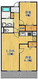 兵庫県宝塚市安倉中5丁目の賃貸マンションの間取り