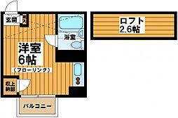 東京都世田谷区松原2の賃貸アパートの間取り