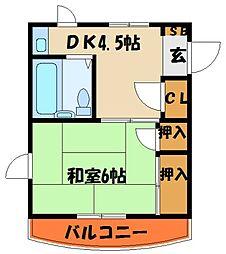 シャトー田中[1階]の間取り