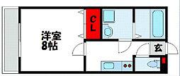 JR鹿児島本線 千鳥駅 徒歩12分の賃貸アパート 1階1Kの間取り