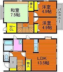 [テラスハウス] 岡山県倉敷市日吉町 の賃貸【/】の間取り