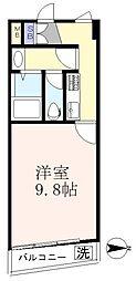 新宿パークサイド永谷 2階1Kの間取り